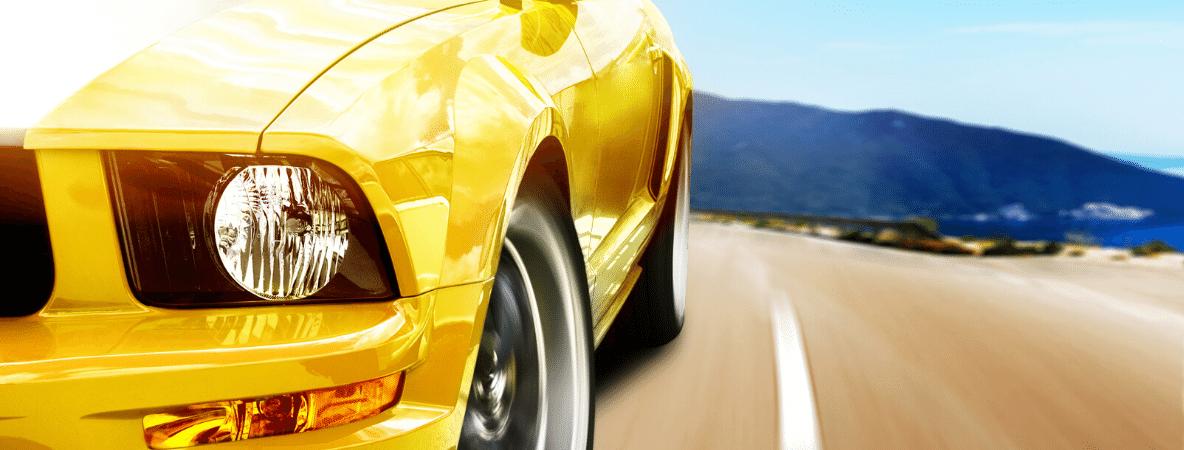 Yellow car driving