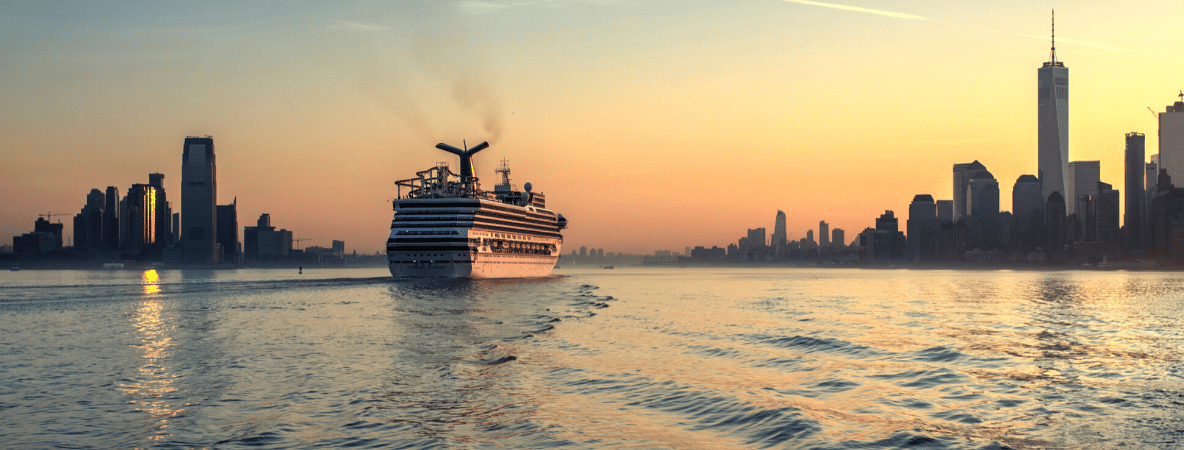 Cruise ship in the sunset