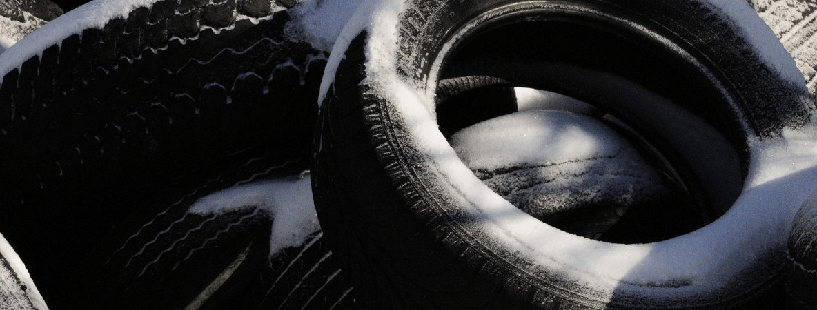 Tyres with ice on them