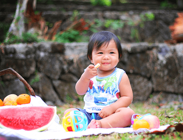 Child enjoying a picnic