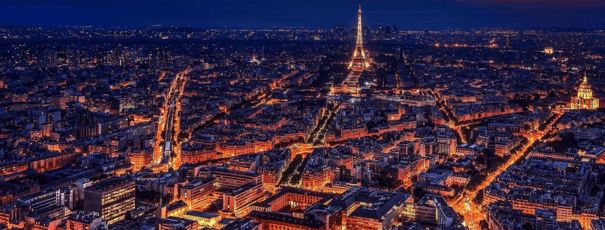 Paris aerial view at night