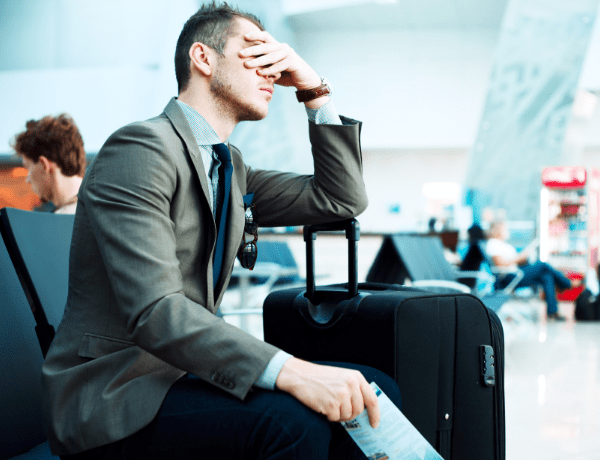 frustrated man at airport